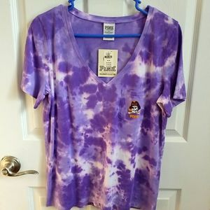 NWT VS Pink ECU V Neck Purple Tie Dye Tee